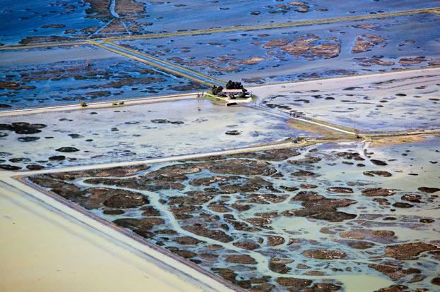 aerial photo of flooded fields