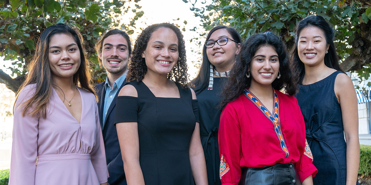 2018 Brower Youth Awards winners. From left to right, Valeree Catangay, Stephen O'Hanlon, Jade Sweeney, Rose Whipple, Mishka Banuri, and Tina Oh. Photo Anthony Notes