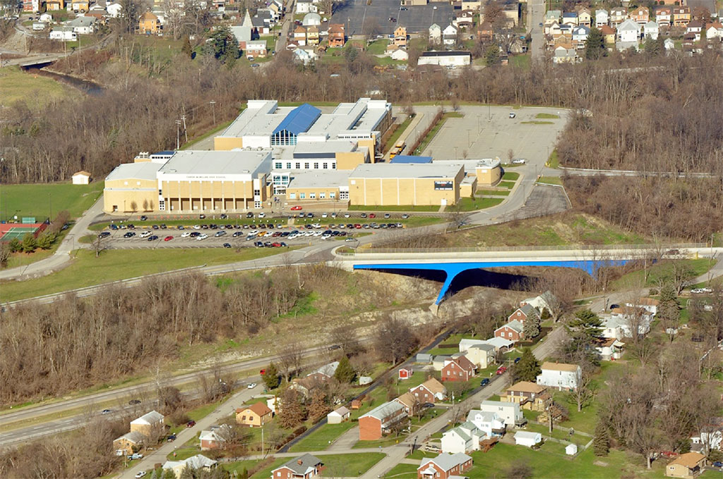Canon-McMillan High School in Washington County. Many local residents believe fracking may be responsible for the high rates of rare cancers in the school district and Washington County in Southwestern Pennsylvania. Photo courtesy of Marcellus Air.