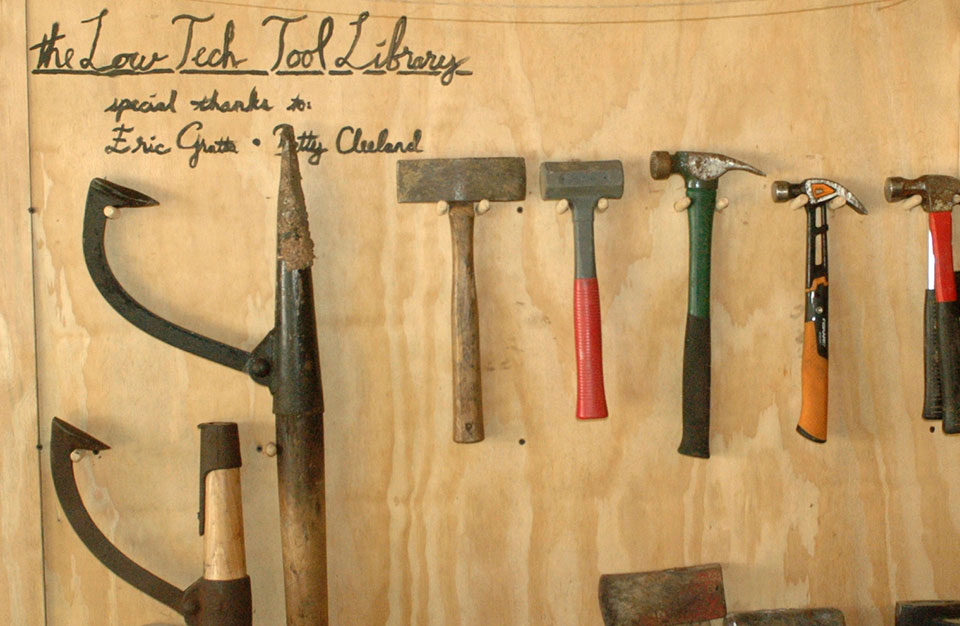 The LTI tool library offers an alternative to individually purchased but infrequently used tools. It's a community resource that people can turn to whenever they need a hammer or an axe. Photo by Mike Miles.