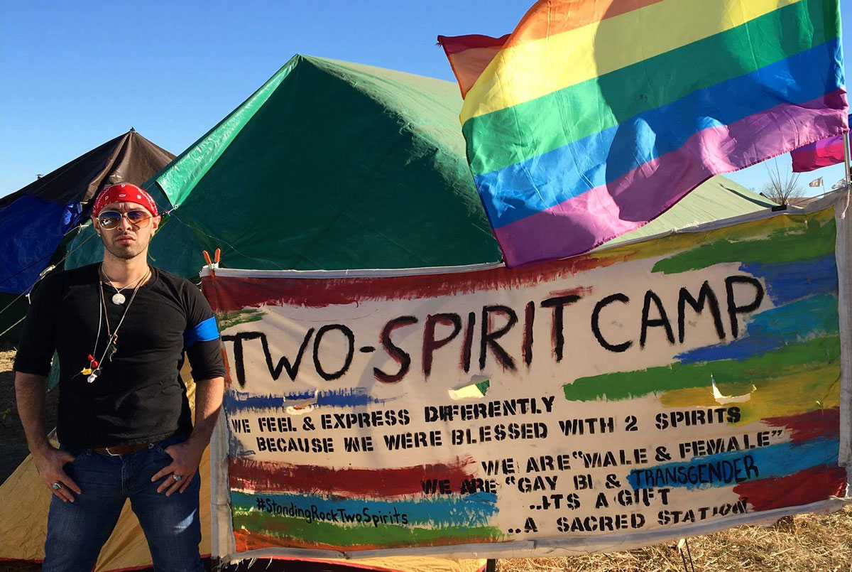 The Two Spirit Nation Camp at the 2016 gathering at Standing Rock was set up as a community space for Two Spirits and allied water protectors. Photo by Sheldon Raymore (Cheyenne River Sioux Tribe)