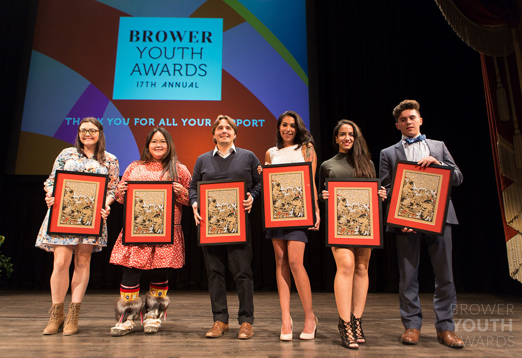 The 2016 Brower Youth Award winners. From left to right: Erica Davis, Heidi Kritz, Will Amos, Karina Gonzalez, Susette Onate, and Xerxes Libsch. Photo by Amir Clark.