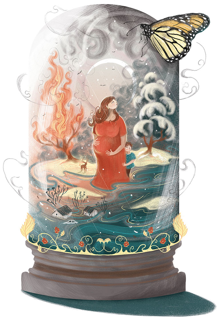 artwork, depicting a pregnant woman in a jar, flood imagery