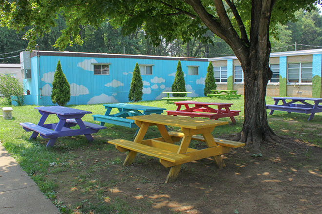 photo of tables outdoors in a school