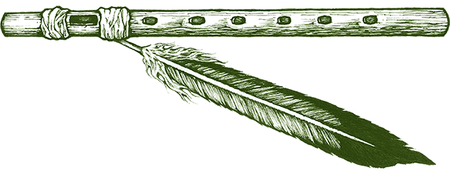 graphic depicting a flute and feather