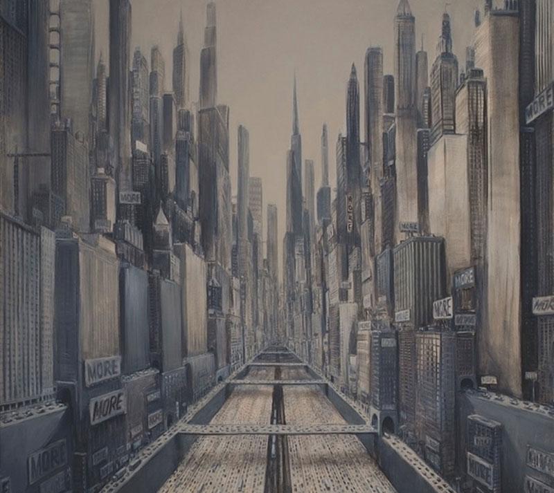 artwork depicting a dystopian city