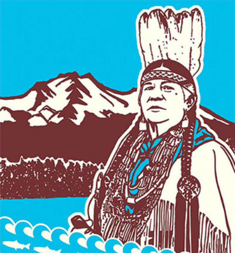 artwork depicting an man wearing a feather head-dress