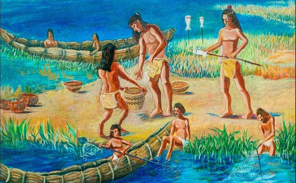 artwork depicting a reed boat and people on a shore