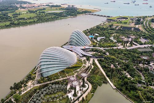 aerial photo of riverside metropolis