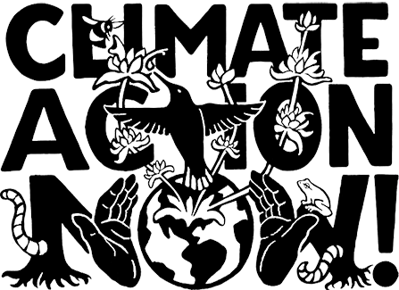 words, climate action now, graphic depicting a bird and a globe