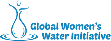 stylized drop of water in the shape of upstretched hands, words, Global Women's Water Initiative