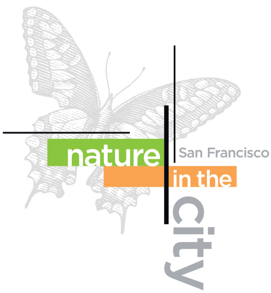 drawing of an acorn, shadow of San Francisco skyline on the kernel, words: Nature in the City