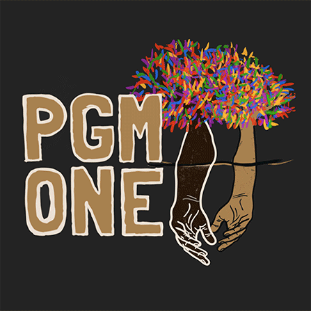 words, PGM ONE, with a graphic depicting hands and a rainbow tree