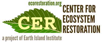 leaf graphic, words, center for ecosystem restoration beyond conservation, www.ecorestoration.org