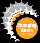stylized graphic of gears, words, all people, all bikes, one community