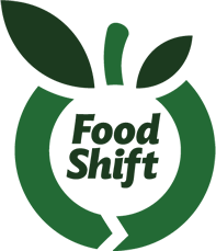 stylized graphic of a fruit, words Food Shift