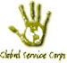 stylized palm turned outward, with a global map inset; words global service corps