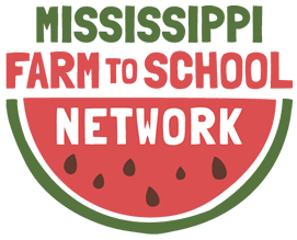 words, Mississippi Farm to School Network, graphic of a watermelon slice