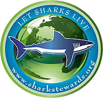 graphic of a shark on a globe, words 'let sharks live'