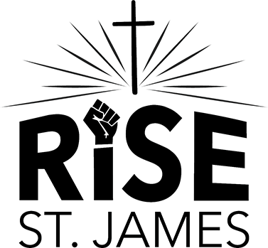 words rise st. james, raised fist, cross